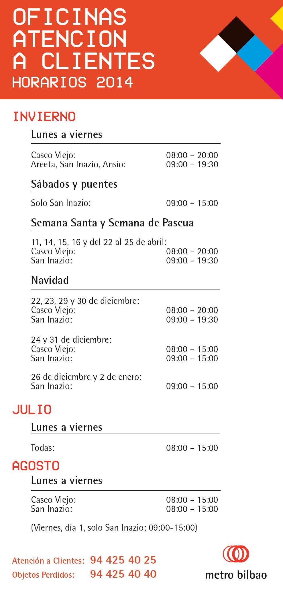 Metro bilbao for Horario oficinas ibercaja